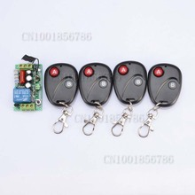 RF Wireless 220V Remote Control Switch 1CH Interruptor 10A 1Receiver&4Transmitter Light Lamp LED SMD A ON B OFF