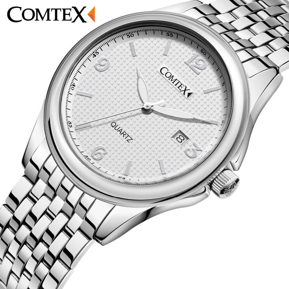 ФОТО Comtex Business Men's Watch Alloy Wrist Watch Analog Display Quartz Movement Waterproof Calendar Roman Number