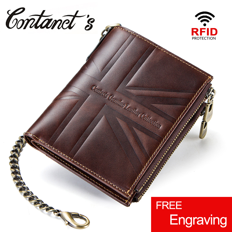 цена на Contact's Crazy Horse Genuine Leather Wallet Men Coin Purse Walet Card Holder Portemonnee Double Zip Money Bag With Chain RFID