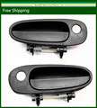 New Exterior Door Handle For Toyota Corolla Black Front Left & Right set of 2 69240-12150 / 6924012150