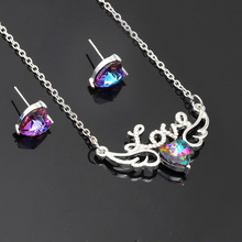 цена на Korean Colorful Love Wings Necklace Set Female Heart-shaped Crystal Pendant Earrings Two-piece