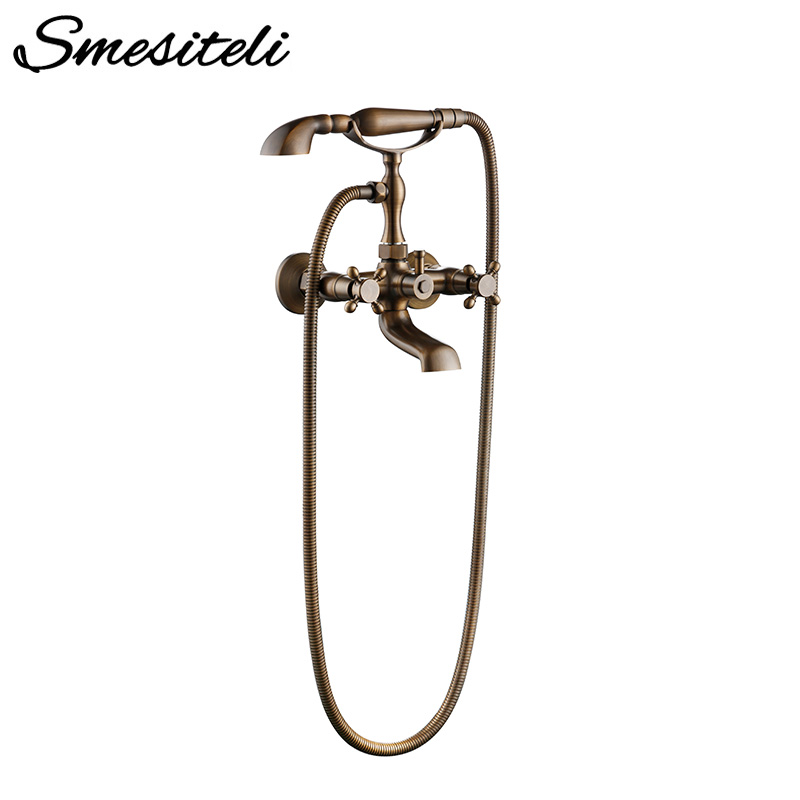 Smesiteli Antique Brass Bathtub Faucets Wall Mounted Brushed Bathtub Faucet With Hand Shower Bathroom Bath Shower