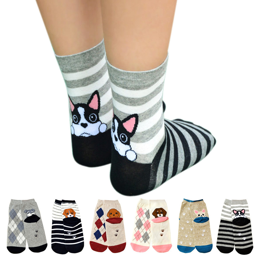 Hot Sale New High Quality Women Cotton Floor Length Casual Striped Cartoon   Socks   Female 3D Animal Dogs Footprints   Socks