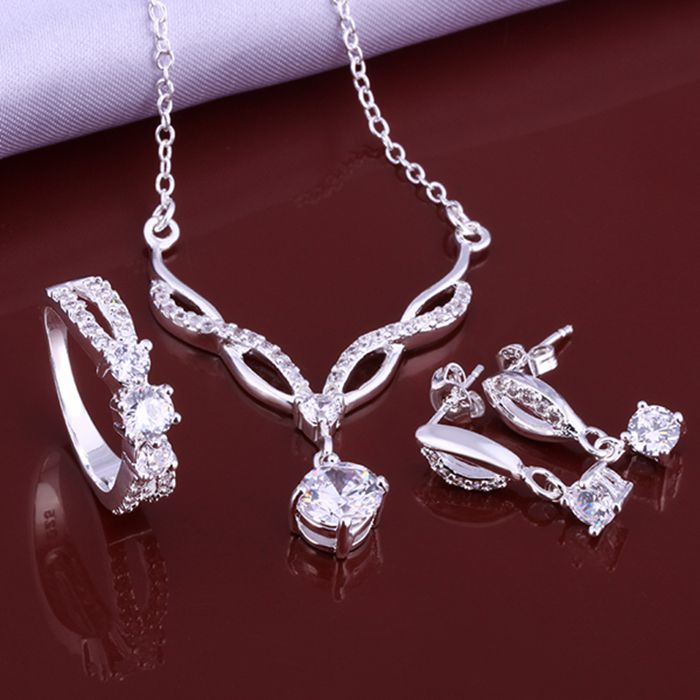 925 Sterling Silver Jewelry Set, Fashion Jewelry Set Earring 509 Necklace 531 Ring 398-8  /ieyaqwfa Iqqarhxa S631