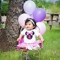 Verano 2017 Mamelucos Del Bebé de 1 Año del Cumpleaños Ropa Del Bebé minnie dress body 2 unids establece recién nacido ropa bebe infantil conjuntos