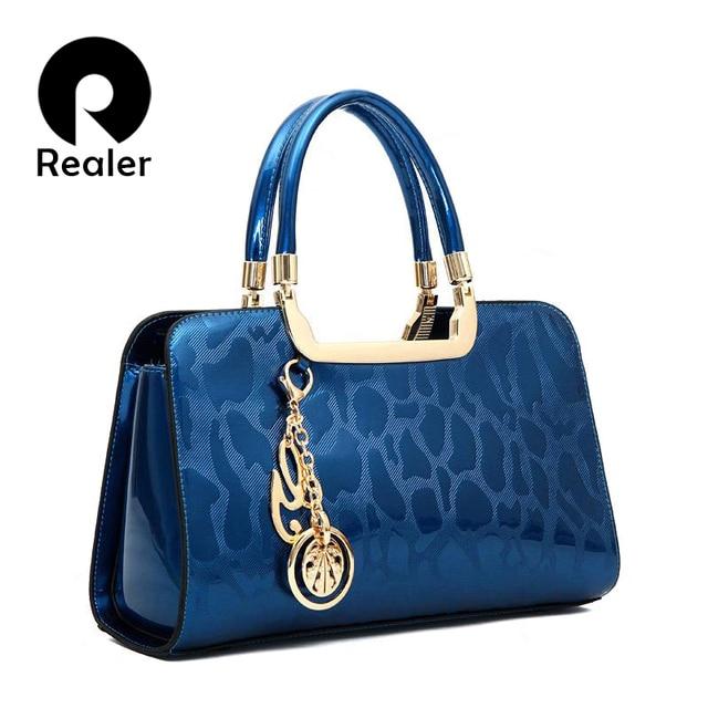 Realer Brand High Quality Women Patent Leather Handbags Medium Tote Bag Black Designer Las