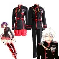Anime D.Gray man Linali Lenalee Lee Allen Walker Cosplay Costume Black School Uniform Qutfit Suit Full Set Halloween Outfit