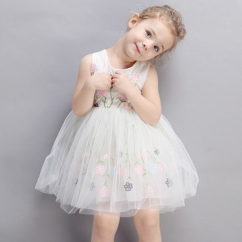 2017 Baby Little Girls Summer Dress Cute Princess Party Dress Flower Embroidery Elegant Evening DEsign for age23456 Years Old