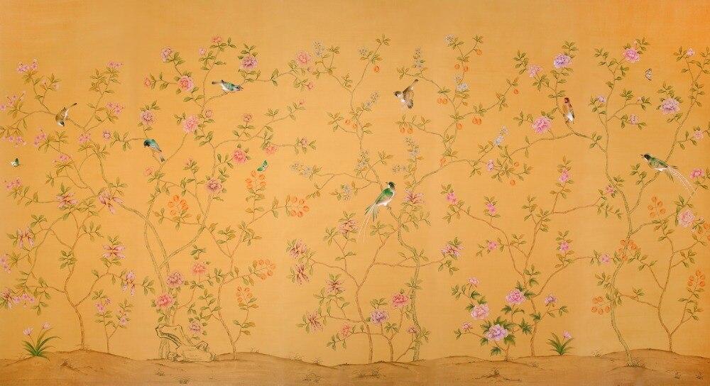 Расписанный вручную шелковый обои дерево с цветами и птицами ручная роспись стены бумажные обои диван/телевизор/спальня backgound - 6
