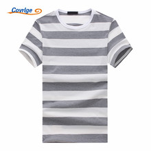 Covrlge Brand Designer Men Striped T Shirts Casual Short Sleeve High Quality Old Color Hip Hop Shirt 2018 Hot Sale MTS471