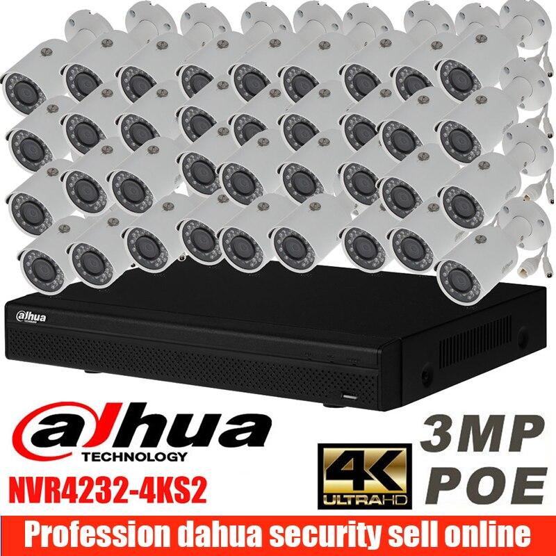 mutil language Dahua NVR4232-4KS2 4K H.265 Network Video Recorder with 32pcs 3MP camera 32ch POE IP camera kit IPC- HFW1320S dahua 3mp network ir bullet camera ipc hfw1320s freeship poe original english version dh ipc hfw1320s dahua ip camera