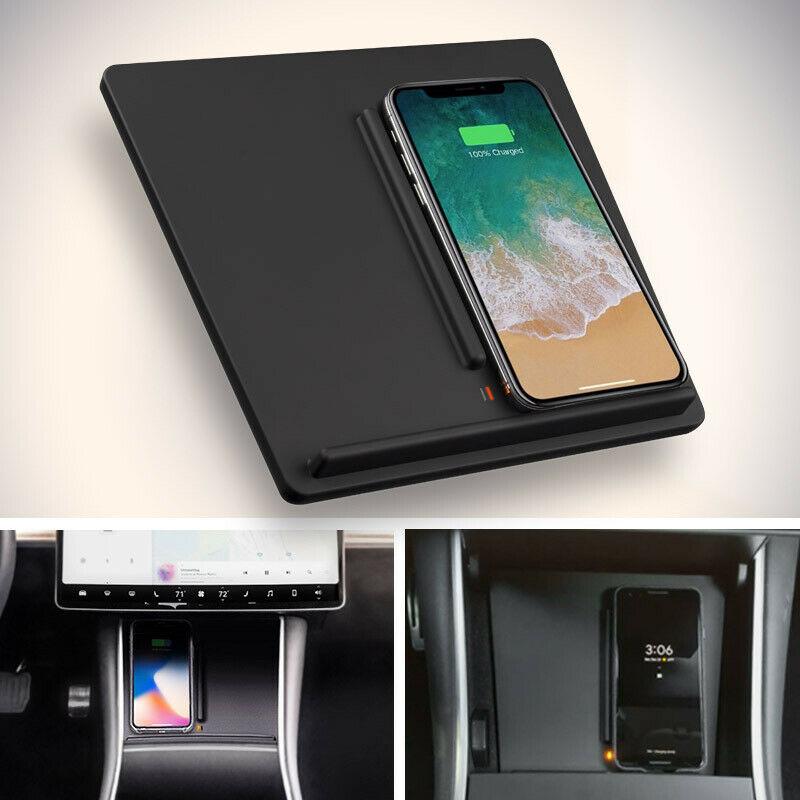 New Hot Voiture Sans Fil Chargeur Center Console Double Téléphones De Charge Portable pour Tesla Modèle 3 NV99
