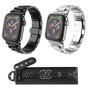 Image 2 - HOCO נירוסטה רצועת עבור אפל שעון סדרת 6 5 4 3 2 1 להקת מתכת פרפר אבזם צמיד עבור iWatch SE 42/44/38/40mm