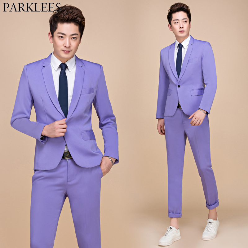 Purple One Button Slim Fit Suit Men 2019 Spring New Wedding Party Stage Singer Prom 2 Piece Suit (Jacket+Pants) Ternos Masculino
