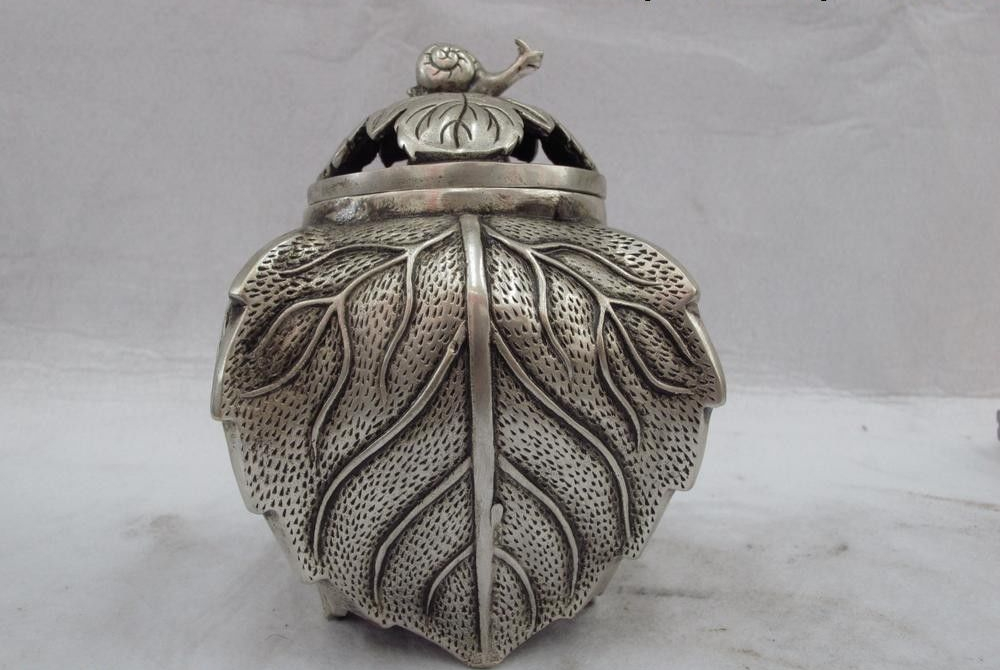 Chinese Palace White Copper Silver Snail Tree leaf carved Censer incense burner