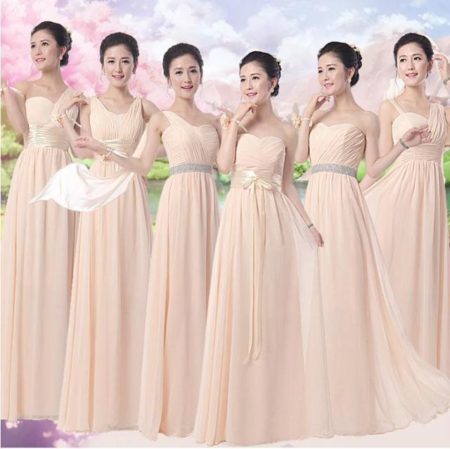 2017 Champagne Color Long Design Elegant Bridesmaid Dresses Sister Wedding Bride Chiffon Dress Women Lady Party