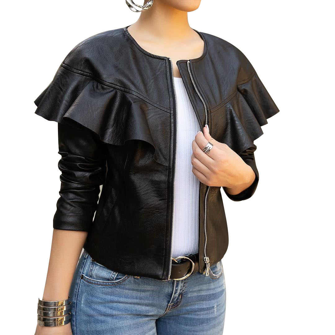 Fashion Solid  Womens PU Jackets and Coats Casual Slim  Faux Leather Jacket O Neck Motorcycle Coat