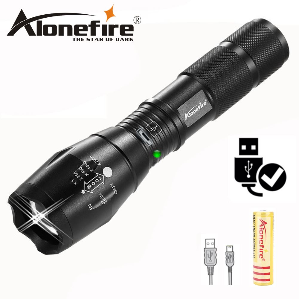 AloneFire XM-L T6 CREE LED Flashlight torch G700-U Micro usb Rechargeable Zoom torch floodlight flash light for 18650 Battery cree xm l t6 led rechargeable pocket flashlight torch mini lantern linternas hunting flash light 200m 18650 battery charger