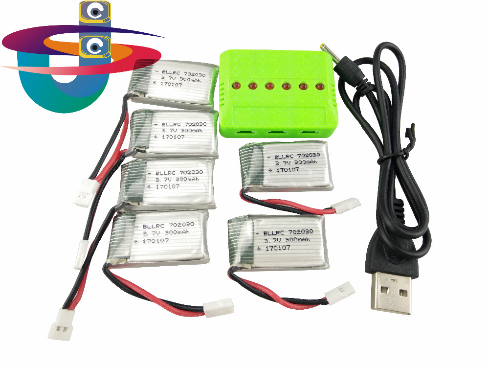 6ps 3.7V 300mAh Li-Po Battery With 1in6 Charger Set For Eachine e55 Hubsan H107 Syma X11C JJRC H66 WLtoys v966 free shipping rechargeable 3 7 v 250mah 25c li po battery for syma x4 x11 hubsan rc quadcopter drone wltoys v966 v988 free shipping sale