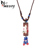 WEIXY Handmade Necklace Women S Tribal Chinese Style Statement Necklace Regional Rope Chain Colorful Beads Birthday