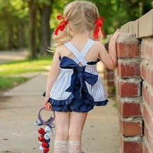 Summer Baby Girl Cute Striped Sling Lace Butterfly Top And Short Pants Kid Two-piece Outfit Set Lovely Clothes 1-6T