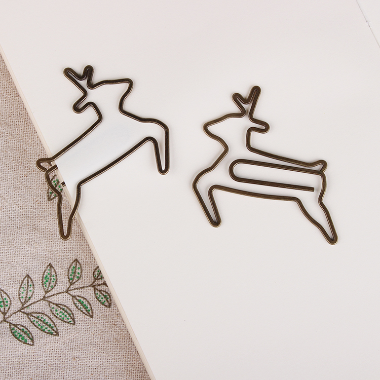 Bronze Deer Paper Clip Copper Paper Clip Special Bookmark Metal Paper Clips Office Accessories Paper Bookmark Shool Paperclips