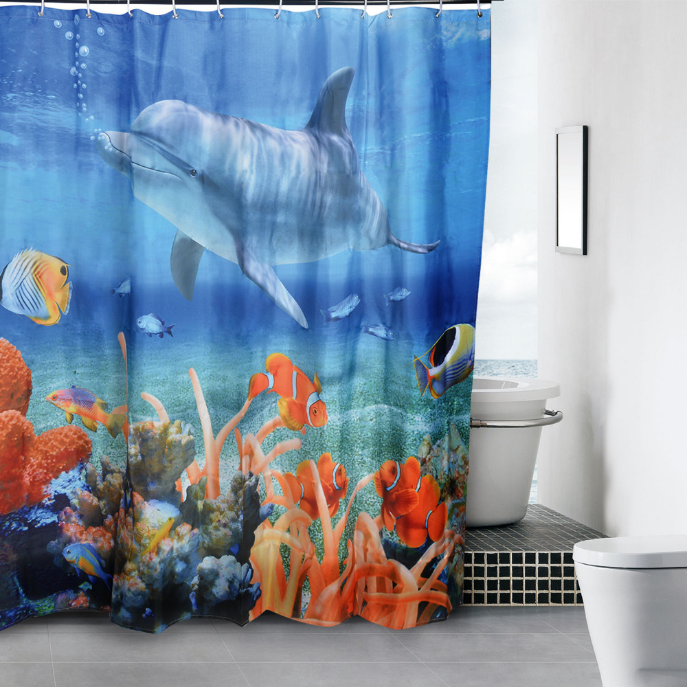 Halloween shower curtains target - Aliexpress Com Buy Hot Sale Polyester Blue Sea Fish 3d Shower Beautiful Curtain Halloween Shower Curtain Eco Friendly Size 180x180cm Hg13132a1 From