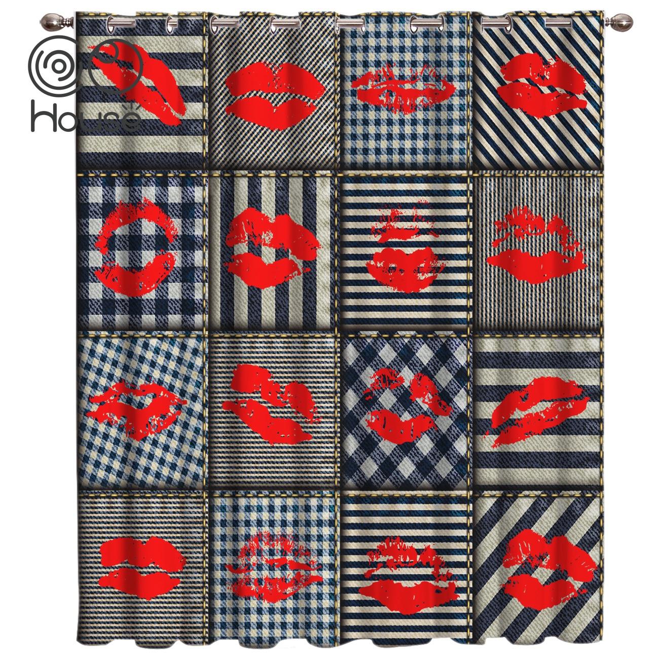 COCOHouse Nautical Style Lip Print Plaid <font><b>Red</b></f