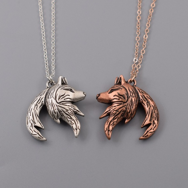 90a2a52903 Wolf necklace Relationship necklace Interlocking couple pendant His and Her  Necklaces His and Hers Gifts (1 pair)