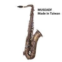 Original Taiwan MUSEADF T 92 Professional Tenor Saxophone Brand Instrument B Flat Unique Antique Copper Brass Sax