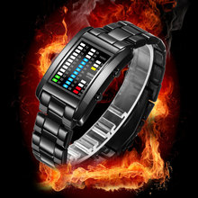 BOAMIGO New Popular Brand Men Luxury Creative Watches Digital LED Display 50M Waterproof Wristwatches Quality Steel Band Clock