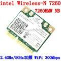 Intel dual band sem fios-n 7260 7260hmw nb metade mini cartão pcie pci-express wlan wi-fi módulo 802.11 a b g n