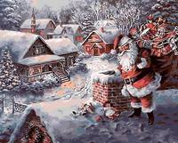 Unframed Snow Landscape DIY Painting By Numbers Father Christmas Handpainted Canvas Painting Unique For Decoration Artwork
