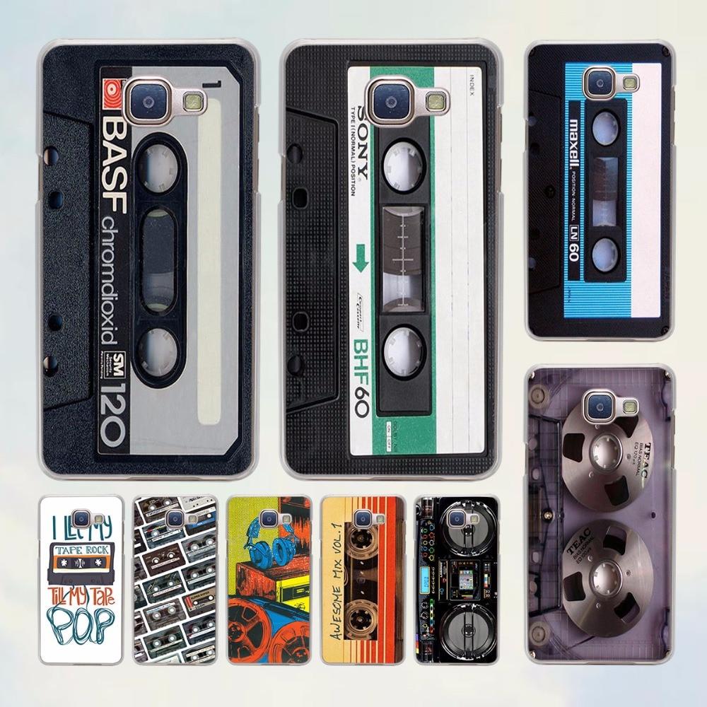 Винтажные кассета аудио дизайн ленты жесткий прозрачный чехол для Samsung Galaxy A7 A5 2017 A8 A9 A3 A5 2016