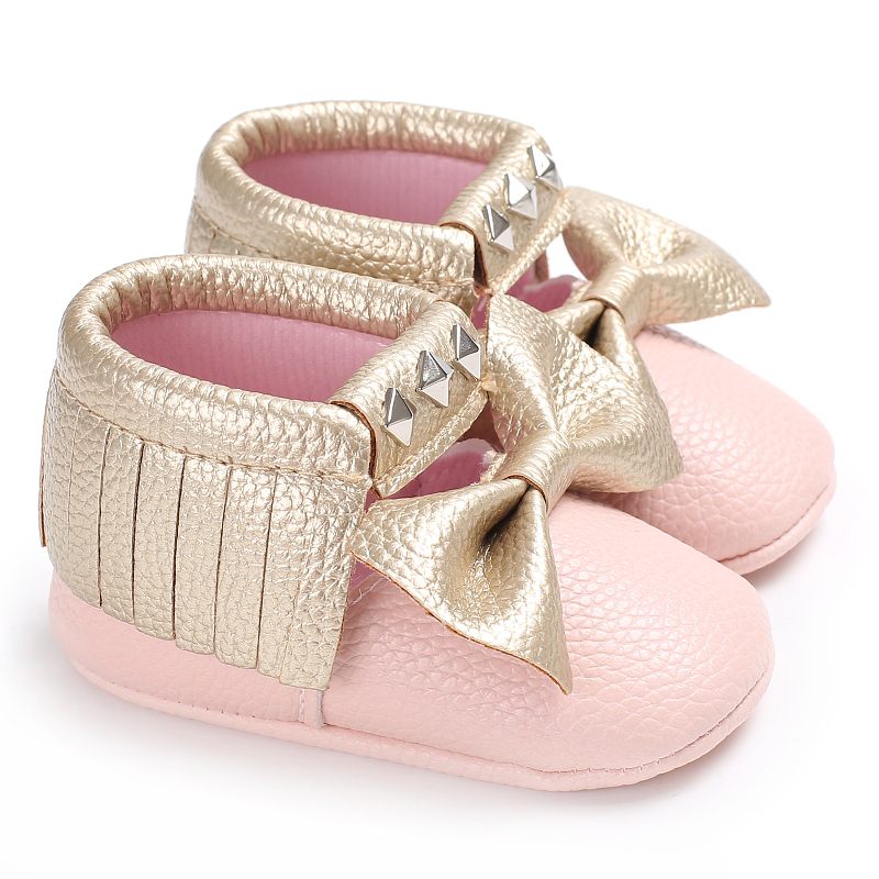 Pink Newborn Moccasins Butterfly-knot Soft Sole Tassels Baby Girls Dress Shoes PU Leather Pink Infant Newborn Baby Shoes