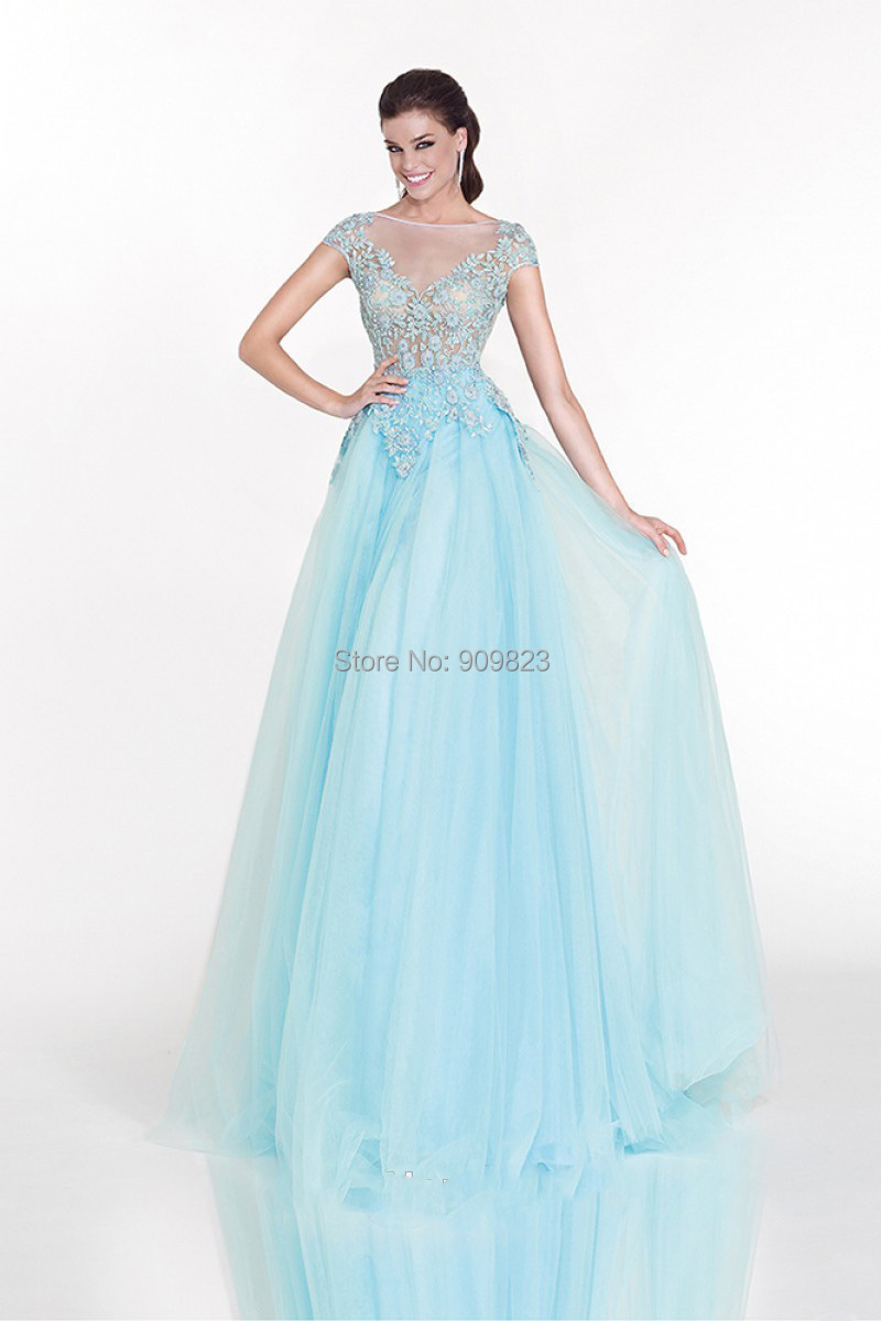 Платье голубой шифон фото