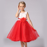 Retail Girls Dresses Summer 2017 Girl Princess Dress Kids Clothes Children Flowers Red Clothing Girls Mesh