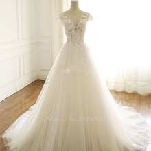 LCELAND POPPY A-line Wedding Dress Cap Sleeves Floor Length