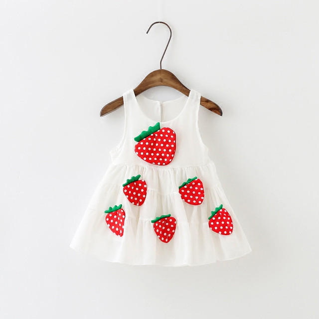 1a0b936d4 2017 Summer Infant Baby Girl Dress Sleeveless Chiffon Vest Kids Dresses For Girls  Strawberry Fruit Cute