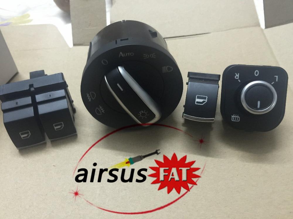 /FCW shipping/ chrome headlight switch mirror switch window switch for volkswagen vw passat b6 eos golf 5 6 r32 gti mk5 mk6 set