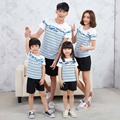 Mother and Daughter Clothes Family Striped T-shirts Summer Cotton Fathes Mother Daughter Son Fashion Matching Outfits MB031