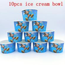 10PCS/LOT MICKEY ICE CREAM CUPS KIDS BIRTHDAY PARTY SUPPLIES MOUSE HAPPY BOWLS