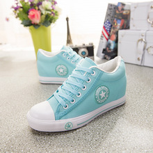 New Fashion 2016 badge wedges high lacing casual elevator shoes female canvas shoes high top wedge boots women casual shoes