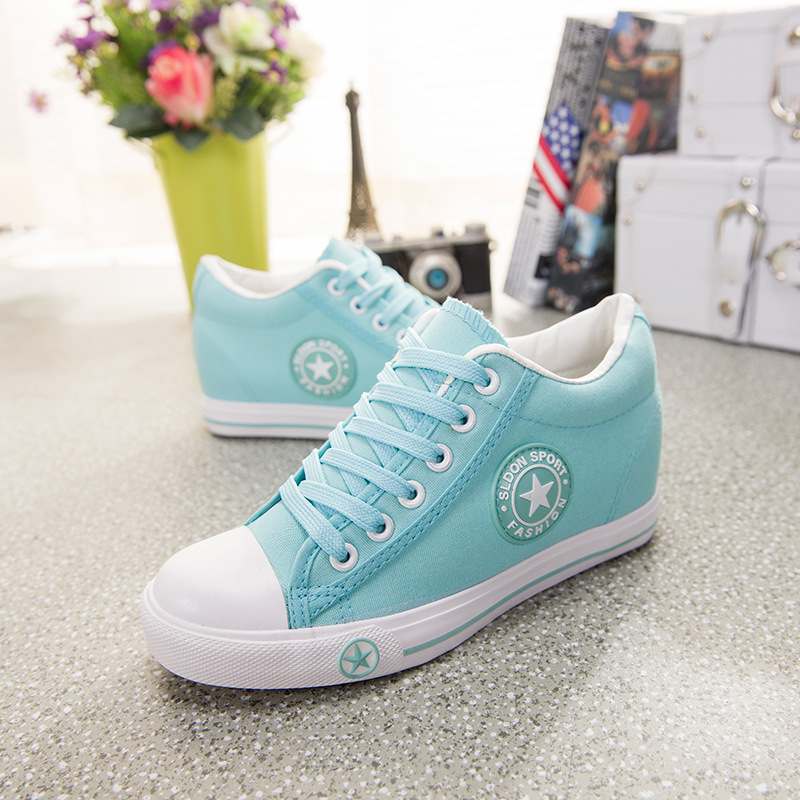 New Fashion 2016 high lacing flat elevator shoes female canvas shoes high top font b women