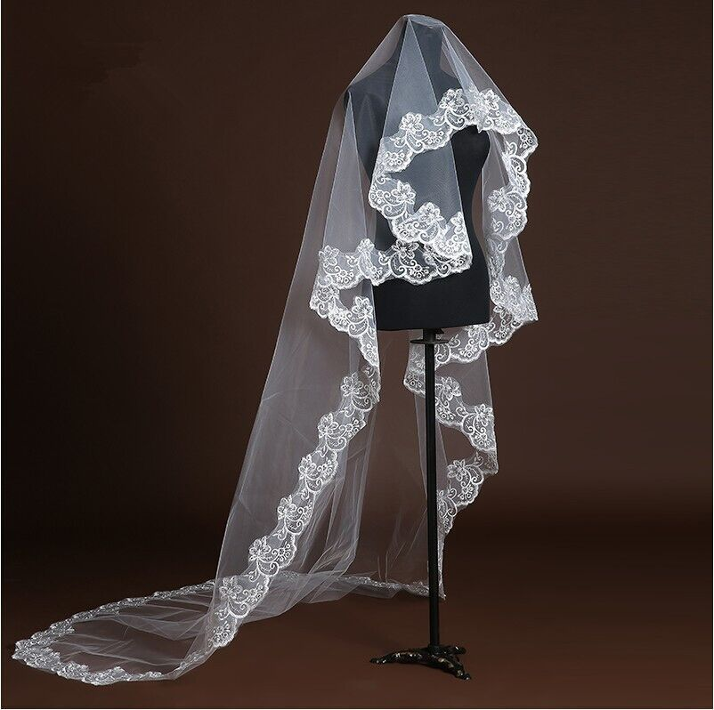 Light Champagne One Layer Veil Lace Egde Short Red Wedding Marriage Veils Red Pure Whtie Adult Veil Special Price C