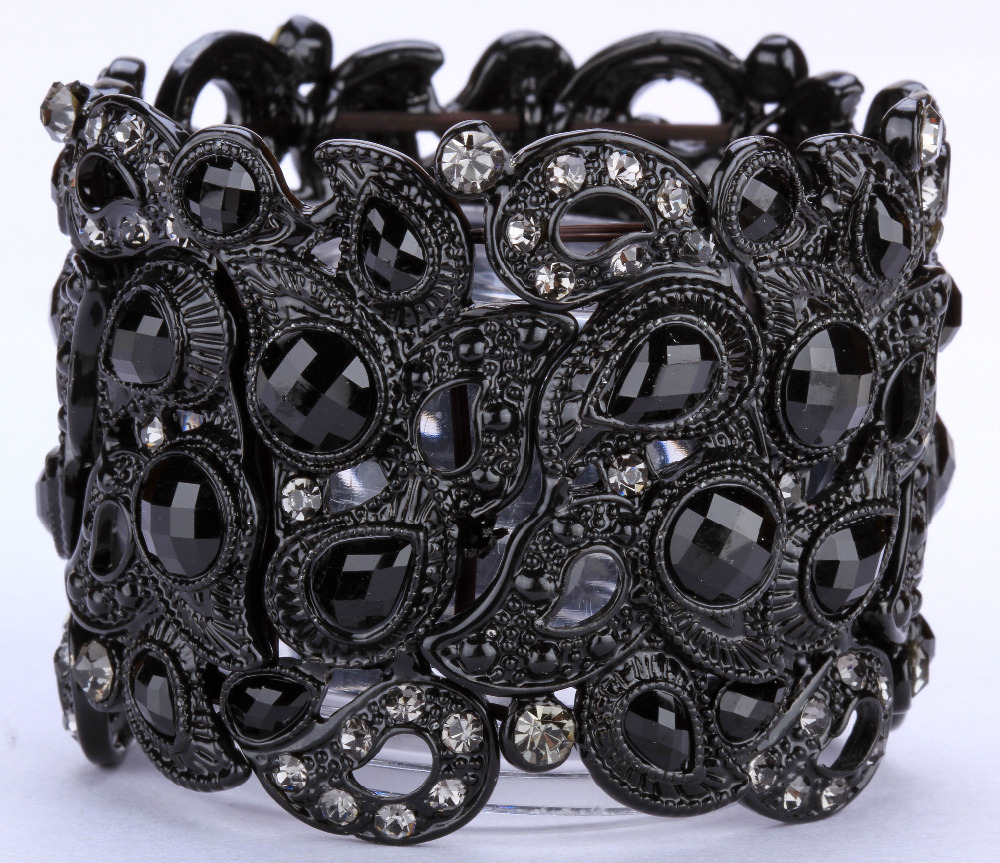 Floral stretch bracelet vintage style flower crystal women fashion jewelry gifts B10 wholesale dropshipping black gold
