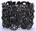 Floral stretch pulsera de flores de estilo vintage crystal joyería moda mujer regalos B10 al por mayor dropshipping negro oro plata