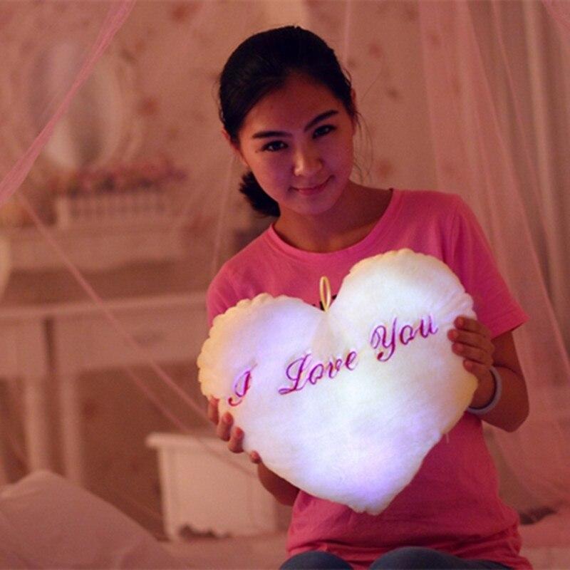35cm Colorful Heart Luminous Pillow LED Light Cushion Plush Decorative Pillow Kids Toys Christmas Toys Valentine's Day Gifts