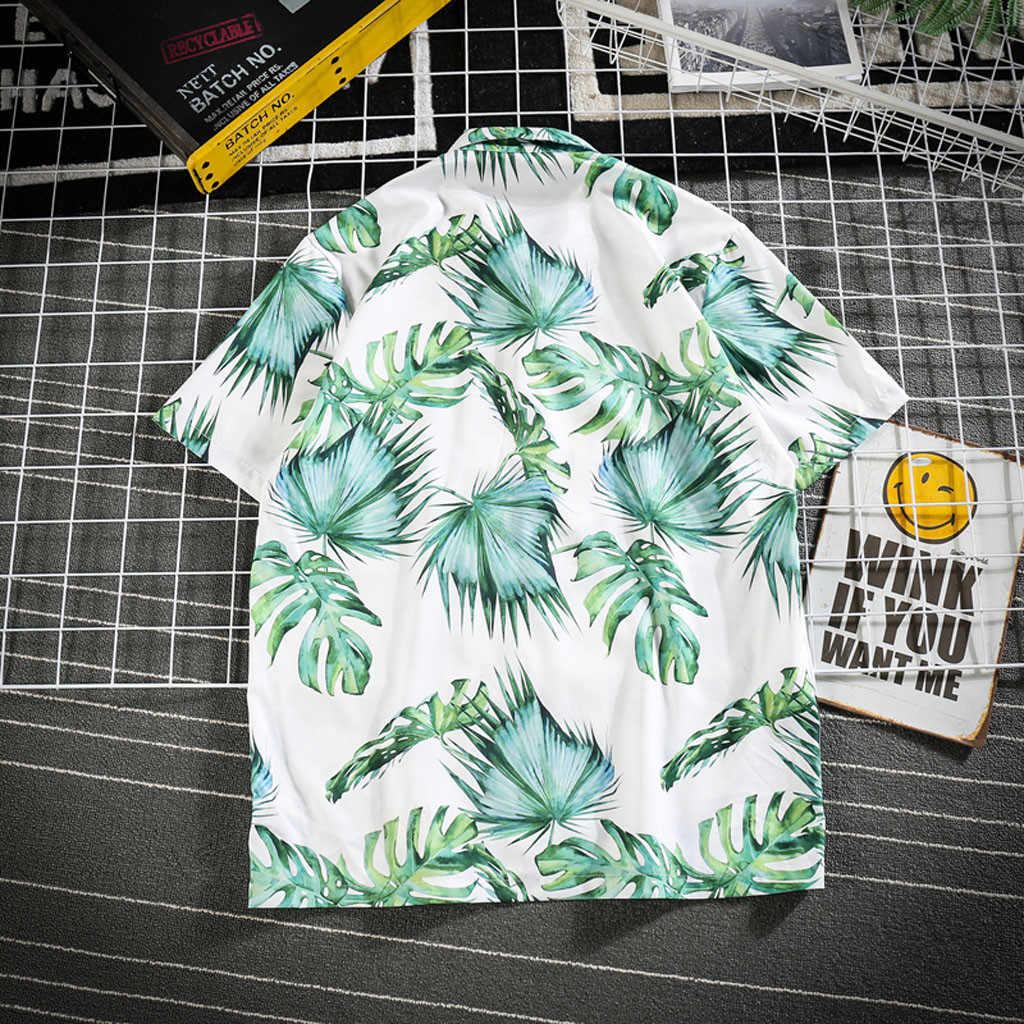 Мужская гавайская рубашка chemise летняя повседневная с коротким рукавом пляжный топ Свободная Повседневная блуза Мужская модная рубашка с цветочным принтом Мужские рубашки