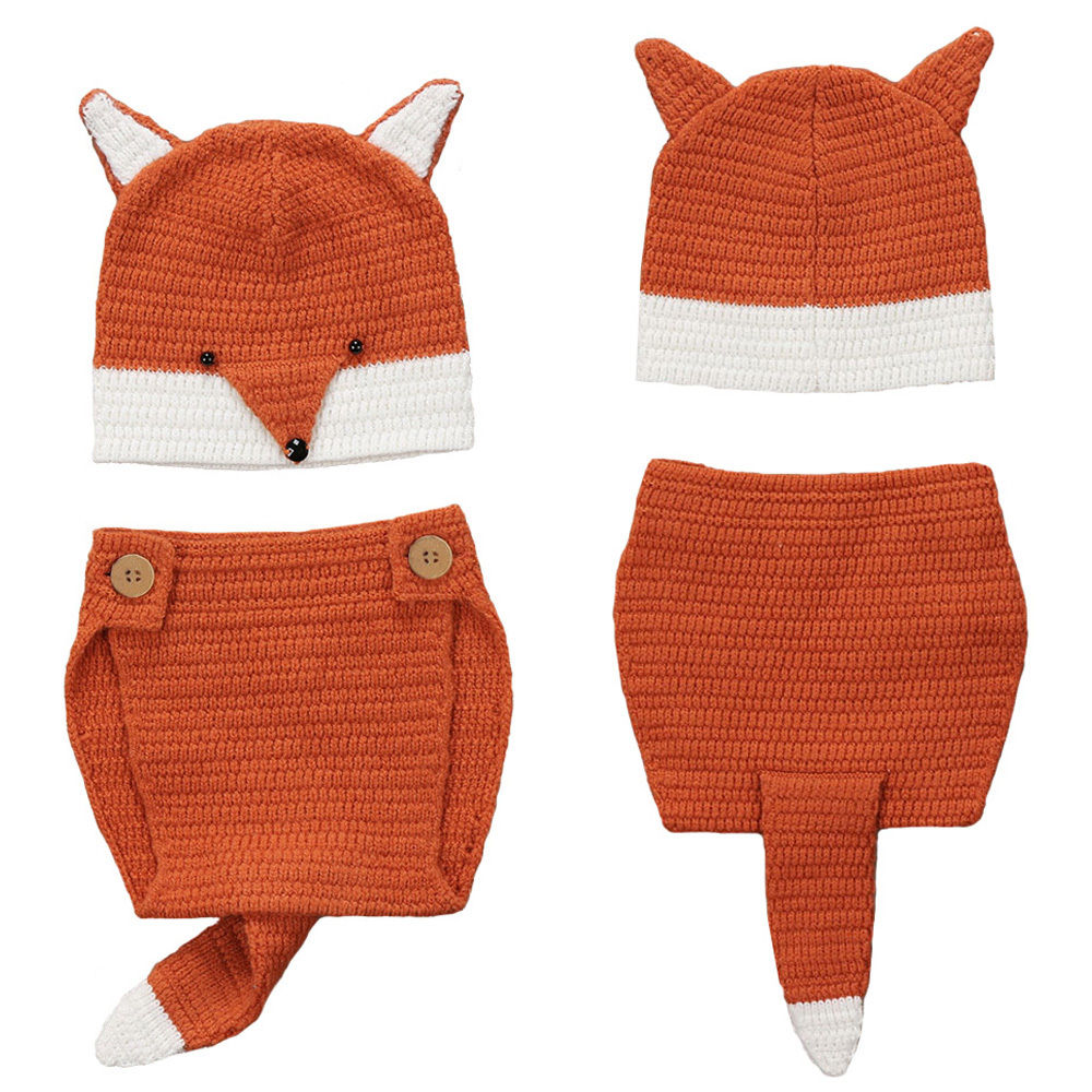2017 New Brand Photo Props Newborn Toddler Infant Baby Boy Girl Fox Ear Hat Bottom Photography 2Pcs Outfits Cute Prop Clothes newborn baby cute crochet knit costume prop outfits photo photography baby hat photo props new born baby girls cute outfits